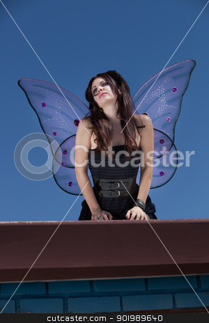 Faery Looks Out stock photo, Faery looks out while standing outdoors on a rooftop by Scott Griessel