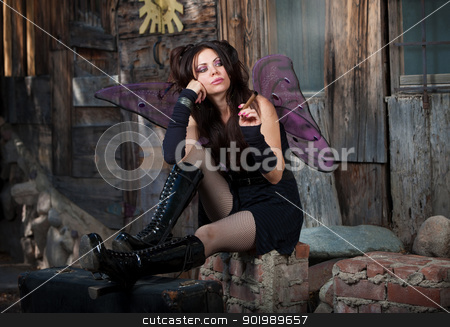 Lonely Fairy stock photo, Lonely Caucasian fairy sits on bricks and smokes a cigar  by Scott Griessel