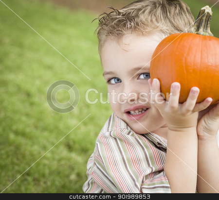 Cute Young Child Boy Enjoying the Pumpkin Patch. stock photo, Adorable Young Child Boy Enjoying the Pumpkins at the Pumpkin Patch. by Andy Dean