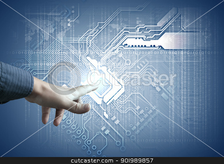 future technology. touch button inerface stock photo, Future technology. touch button inerface illustration in blue colour by Sergey Nivens