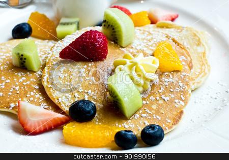 Pancake with fresh fruit stock photo, Delicious pancake with fresh stawberry, kiwi, orange, blueberry. by CameraCantabile