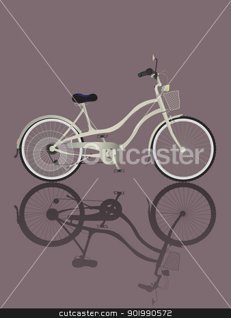 Retro Bicycle stock vector clipart, Illustrated retro bicycle and reflection.  by Richard Laschon