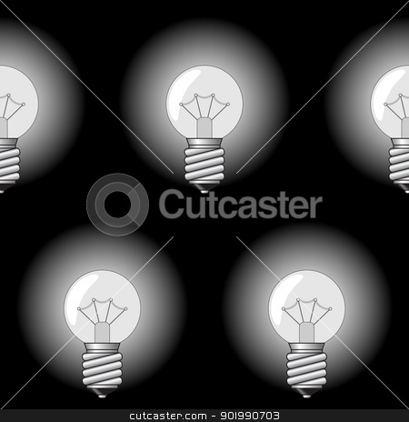 Background with electrical a sphere-form lamps stock vector clipart, Black-and-white abstract background with electrical a sphere-form lamps for your design. Seamless pattern. Vector illustration. by Andrey Khritin
