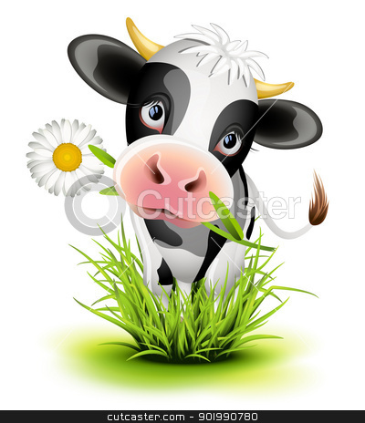 Holstein cow in grass stock vector clipart, Cute Holstein cow in green grass by Laurent Renault