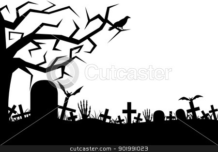 Cemetery stock vector clipart, Cemetery isolated on white by Ioana Martalogu