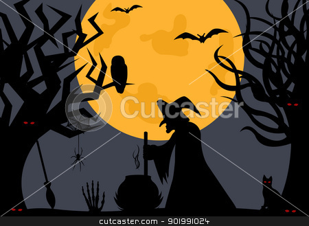 Illustration of a witch stock vector clipart, Illustration of a witch with moon in background by Ioana Martalogu