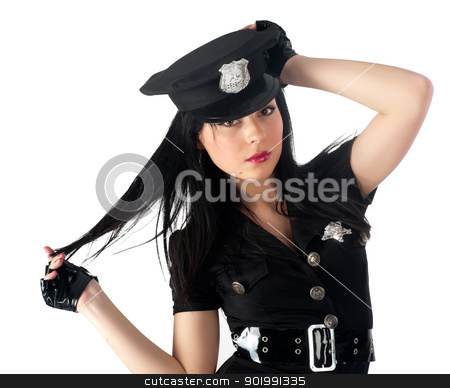 Sexy police woman stock photo, Young beautiful police woman. Isolated on white by Aikon