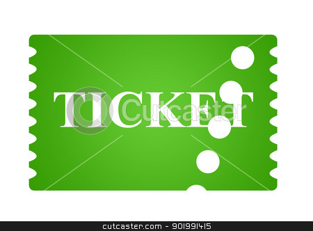 Eco green ticket stock photo, Eco green ticket isolated on white background with copy space. by Martin Crowdy