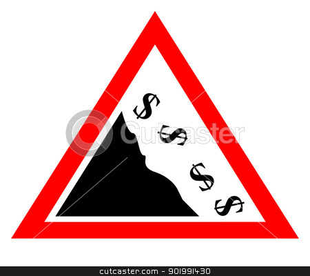 Falling dollar currency concept sign stock photo, Falling dollar currency concept sign isolated on white background by Martin Crowdy