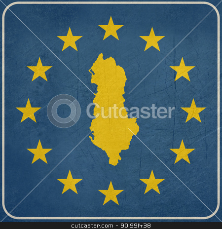 Grunge Albania European button stock photo, Grunge Albania map on blue and starry European button isolated on white background with copy space.  by Martin Crowdy