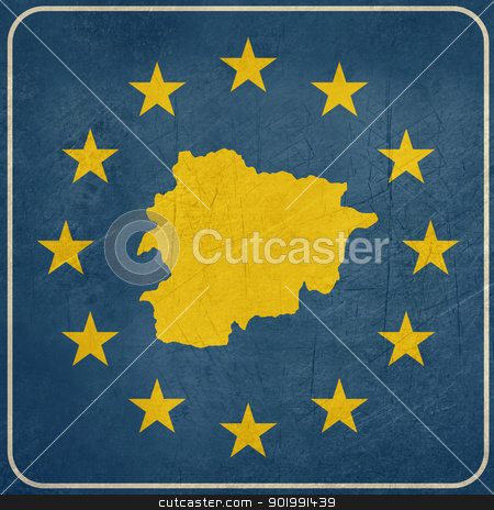 Grunge Andorra European button stock photo, Grunge Andorra map on blue and starry European button isolated on white background with copy space.  by Martin Crowdy