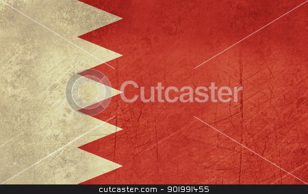 Grunge Bahrain Flag stock photo, Grunge Sovereign state flag of country of Bahrain in official colors. by Martin Crowdy