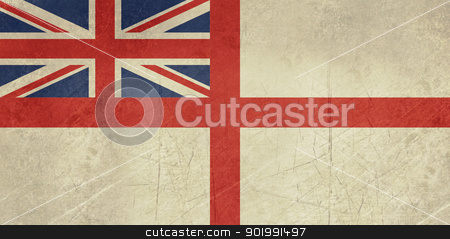 Grunge British Royal Navy flag stock photo, Grunge British Royal Navy ensign or flag in official colors. by Martin Crowdy