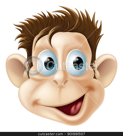 Laughing happy monkey face cartoon stock vector clipart, Cartoon illustration of a laughing happy monkey face by Christos Georghiou