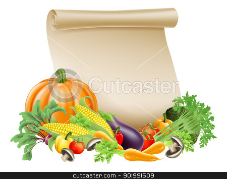 Thanksgiving or fresh produce scroll stock vector clipart, Illustration of thanksgiving; harvest festival or fresh produce scroll background of paper scroll sou rounded by fresh vegetables and fruit with copyspace by Christos Georghiou