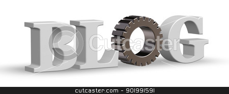 industry blog stock photo, the word blog with gear wheel - 3d illustration by J?