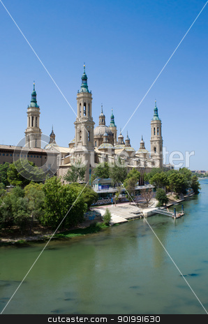 Saragossa cathedral and river Ebro stock photo, Saragossa cathedral in front of river Ebro in Spain by Stefano Cavoretto