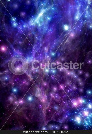 Being shone spiral gas nebula stock photo, being shone spiral gas nebula and stars in a far space by Anatolii Vasilev