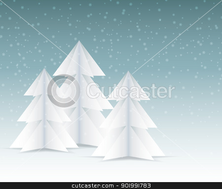 Winter trees  stock vector clipart, Vector winter landscape with forest and snowfall  by Miroslava Hlavacova