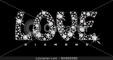 Love diamond icon stock vector clipart, Black background with diamonds in the shape of the word love by Michael Travers