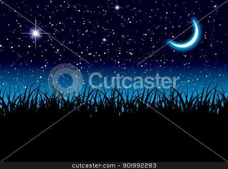 Moon space grass stock vector clipart, Long grass with space scape and bright cresent moon by Michael Travers