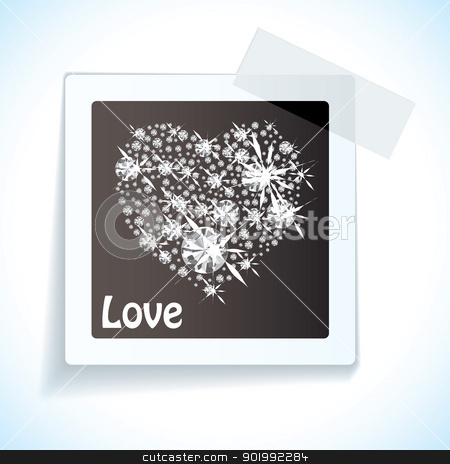 Paper tape love tag stock vector clipart, Black paper love tag with sticky tape and diamond heart shape by Michael Travers