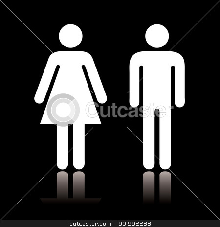 Toilet icon negative stock vector clipart, Simple black and white toilet symbol with reflection by Michael Travers