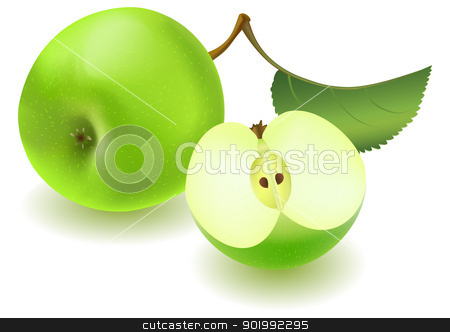 Green apple and slice with leaf stock vector clipart, Fresh green apple and slice with green leaf on white background. EPS-10 vector illustration. Contains gradient mesh and transparency. by Andrey Khritin