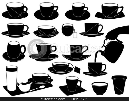 Cups set  stock vector clipart, Cups set isolated on white by Ioana Martalogu