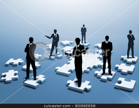 Social network and human figures stock photo, Symbol of social network and human figures by Sergey Nivens