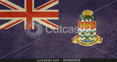 Grunge Cayman Islands flag stock photo, Grunge Sovereign state flag of dependent country of Cayman Islands in official colors.  by Martin Crowdy