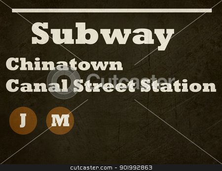Grunge Chinatown Canal Street Station stock photo, Grunge Chinatown Canal Street station subway sign isolated on white background, New York City, U.S.A. by Martin Crowdy