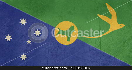 Grunge Christmas Islands Flag stock photo, Grunge sovereign state flag of dependent country of Christmas Islands in official colors.  by Martin Crowdy