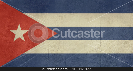 Grunge Cuba Flag stock photo, Grunge sovereign state flag of country of Cuba in official colors. by Martin Crowdy