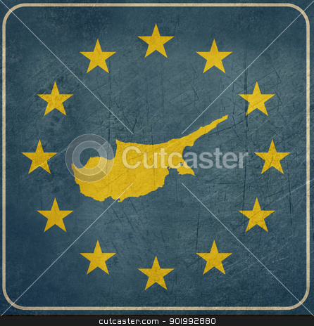 Grunge Cyprus European button stock photo, Grunge Cyprus map on blue and starry European button isolated on white background with copy space.  by Martin Crowdy