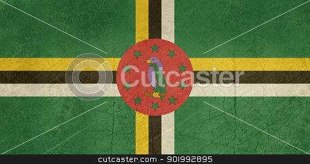 Grunge Dominica Flag stock photo, Grunge sovereign state flag of country of Dominica in official colors. by Martin Crowdy