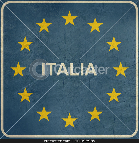 Grunge European Italy sign stock photo, Grunge Italy road sign on European flag with stars, isolated on white background with copy space. by Martin Crowdy