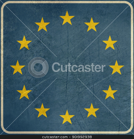 Grunge European Union road sign stock photo, Grunge European Union road sign with copy space, isolated on white background. by Martin Crowdy