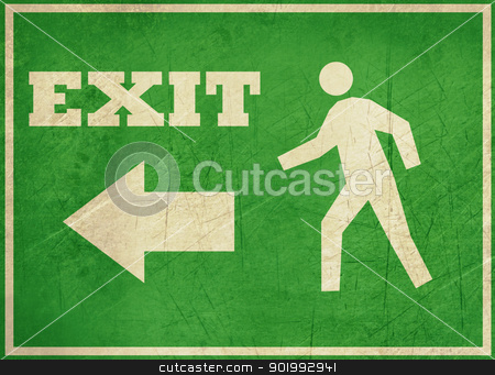 Grunge exit Sign stock photo, Grunge green exit sign isolated on white background. by Martin Crowdy