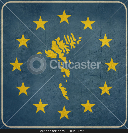 Grunge Faroe Islands European button stock photo, Grunge Faroe Islands map on blue and starry European button isolated on white background with copy space.  by Martin Crowdy