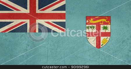 Grunge Fiji Flag stock photo, Grunge sovereign state flag of country of Fiji in official colors. by Martin Crowdy