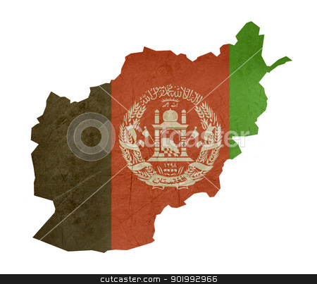 Grunge flag map Afghanistan stock photo, Grunge flag map Afghanistan isolated on white background. by Martin Crowdy