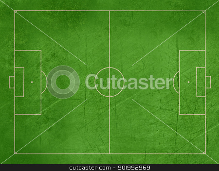 Grunge football or soccer pitch stock photo, Grunge overhead view of soccer or football pitch with exact dimensions and copy space. by Martin Crowdy