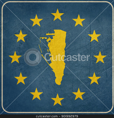 Grunge Gibraltar European button stock photo, Grunge Gibraltar map on blue and starry European button isolated on white background with copy space.  by Martin Crowdy