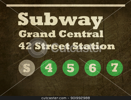 Grunge Grand Central station subway sign stock photo, Grunge New York Grand Central Station, 42 street subway train sign isolated on black background. by Martin Crowdy
