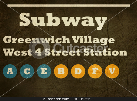 Grunge Greenwich Village subway sign stock photo, Grunge Greenwich Village West 4 street station subway sign isolated on white background, New York City, U.S.A. by Martin Crowdy
