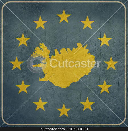 Grunge Iceland European button stock photo, Grunge Iceland map on blue and starry European button isolated on white background with copy space.  by Martin Crowdy