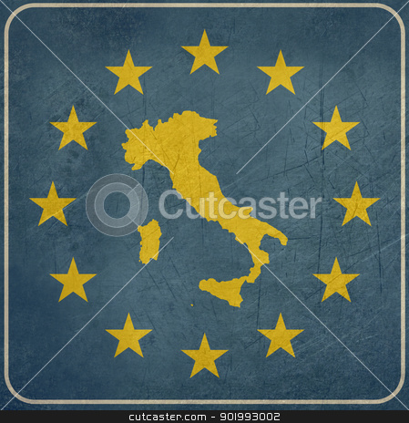 Grunge Italy European button stock photo, Grunge Italy map on blue and starry European button isolated on white background with copy space.  by Martin Crowdy