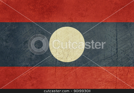 Grunge Laos Flag stock photo, Grunge sovereign state flag of country of Laos in official colors. by Martin Crowdy