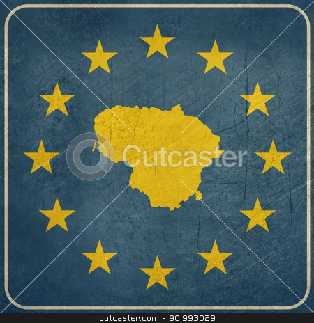 Grunge Lithuania European button stock photo, Grunge Lithuania map on blue and starry European button isolated on white background with copy space.  by Martin Crowdy